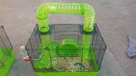 Hamster + happy time hamster cage combo for sale