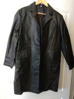 Плащ-пальто кожаный женский большой размер