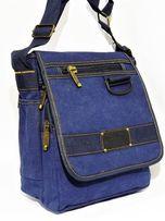Молодежная брезентовая сумка на плечо Gold be! синий и хаки и черный.