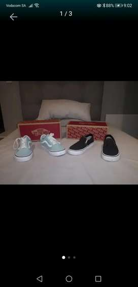 2 pairs of vans (black and mint green)