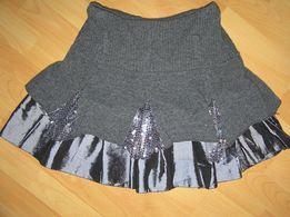 Włoska mini spódniczka szara, srebrna rozmiar S