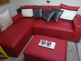 L shape couch and ottoman