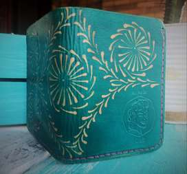 Turquoise Wax Painted Bifold wallet