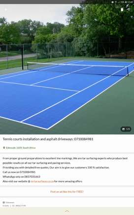 Tennis court and tar surfacing
