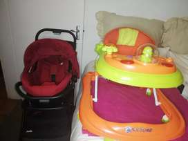 Selling a stroller, car seat and walker.