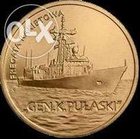 moneta 2zł Fregata Rakietowa Gen.K. Pułaski 2013