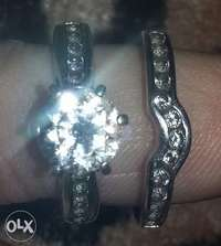 silver ring with cubic zirconia stones for sale  South Africa