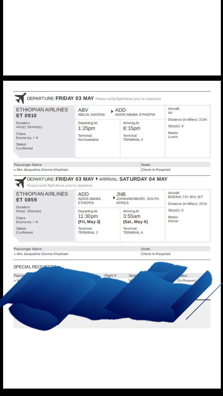 Flight ticket for sale from Johannesburg to Abuja 0