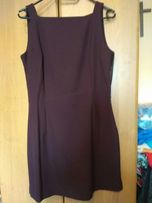 Śliwkowa eleganka biznesowa sukienka-bezrękawnik