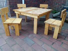 Kids Pine Table and 4 x Pine Chairs