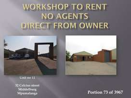 WORKSHOP TO RENT - AVAILABLE 1 NOVEMBER
