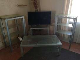 Glass TV lounge unit