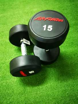 Brand new Life Fitness Rubber Dumbells 15kg pair