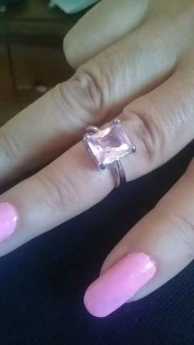 Crystal pink emerald ring