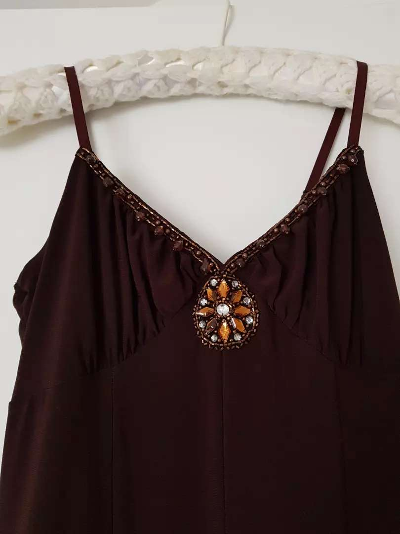 Brown cocktail/evening dress for sale size 8 0