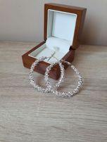 Srebrne eleganckie kolczyki duże koła ozdobne kryształki kolor srebrny