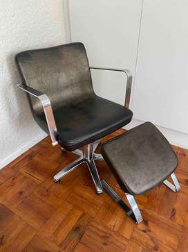 Leather office chair - 5spindle chrome base with stool