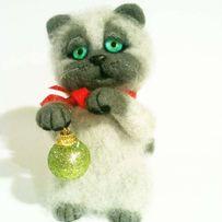 Котик..игрушка для интерьера.авторская работа.сухое валяние.котенок.