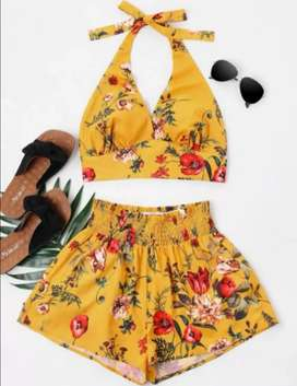 Bee Yellow Halter Top & Shorts Set