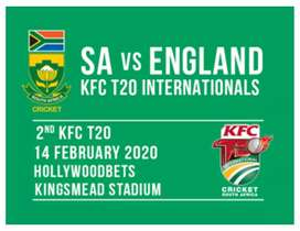 T20 South Africa vs England CRICKET Tickets for SALE