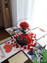Роза в колбе с фото и пожеланием! Роза в стекле с ВАУ эффектом!