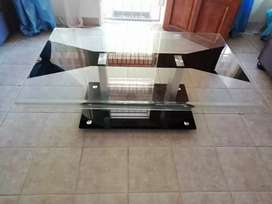 Glass table.