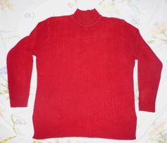 Женский красный свитер, кофта, водолазка.