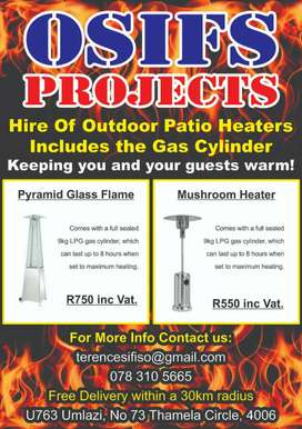 Patio Gàs heaters for Hire
