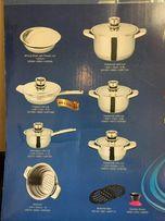 Продается набор новой посуды (4 кастрюли, дуршлаг, сковорода, миска)