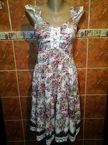 Шелковое платье сарафан в цветы с воланами и кружевом турция