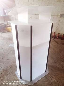 Double Top Frosted White Acrylic/Perspex Podium