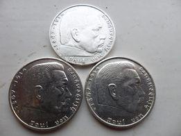 Серебряные монеты 2 рейхсмарки,оригинал,Третий Рейх,Германия.