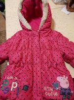 Деми куртка-пальто со свинкой Пэппой на принцессу 1-2 годика