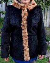 Шуба натуральный стриженный кролик бобрик капюшон под рысь р46 S