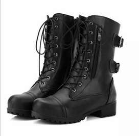 Black new leather boots