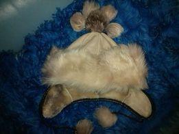 Шапка зимняя, мех натуральный, кожаная, 4-7 лет. 2 штуки.