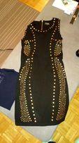Czarna sukienka ze złotymi aplikacjami (ćwiekami) S - sylwester