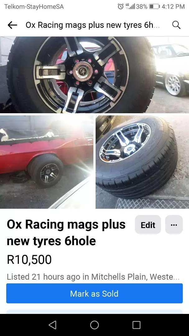 10 j Ox Racing mags 6hole and new tyres