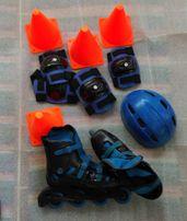 Детские ролики с комплектом защиты и пирамидками.