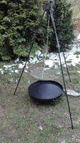 Grill trójnóg, grill ogrodowy kuty komplet średnica rusztu 60 cm.