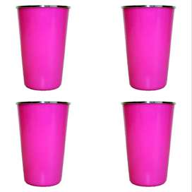Stainless Steel Tumbler – Pink – 330ml (4 Pack)