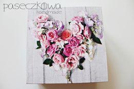 Pudełeczko na ślub, podziękowanie, serce z kwiatów, pudełko ślubne