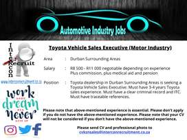 Toyota Vehicle Sales Executive (Motor Industry) Durban Surrounding Are