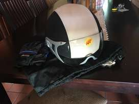 Retro - Leather Motorcycle Helmet and gloves