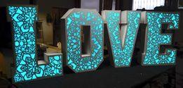 Napis podświetlany LOVE DWA w JEDNYM ażurowy lub RGB 120cm wysokości!