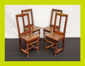 Set of Four Small Victorian Oak and Mahogany Kitchen Chairs - SKU 1061