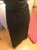Spódnica maxi długa czarna gruba ciepła dresowa