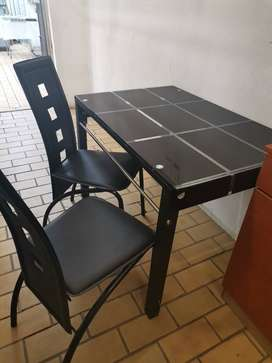 Glass table and chair