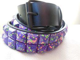 fioletowy kolorowy pasek do spodni w kwadraty kwadraciki czarny pas