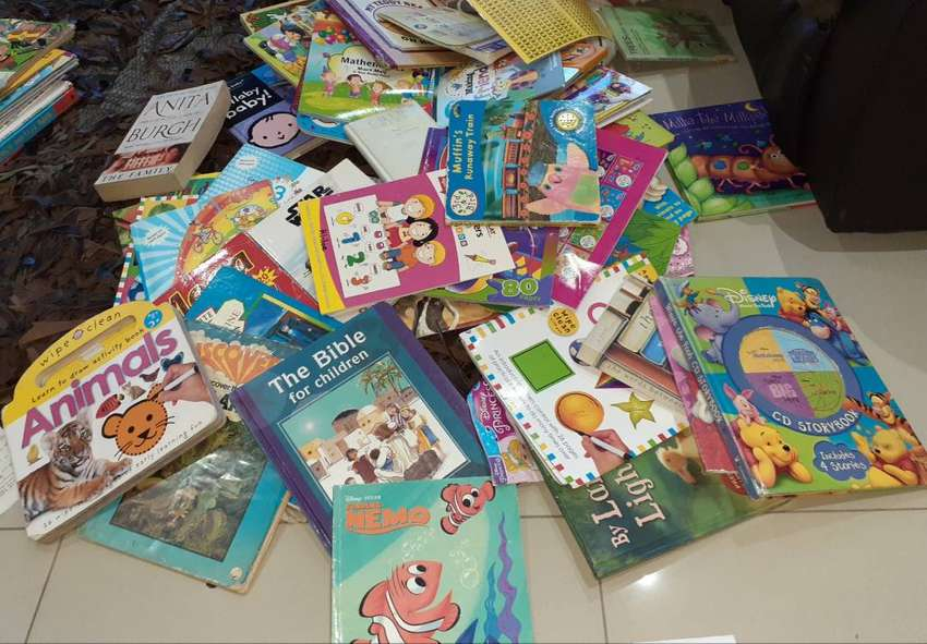 60 kids educational books story books etc and 5 adults novels religion 0